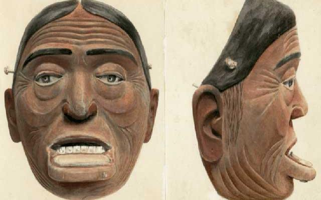 Water colour painting of a Haida painted wooden mask, Pitt Rivers Museum, University of Oxford, 2014.89.1a