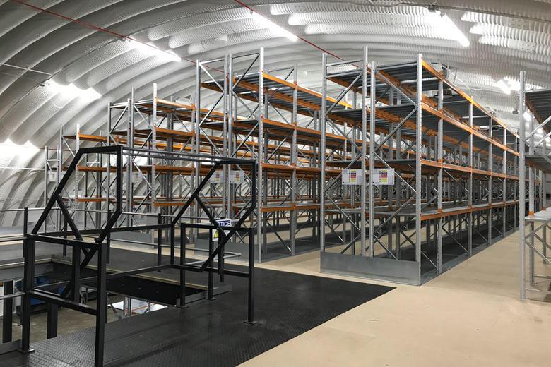 Shelving racks in a hangar