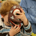 Child wearing mask at Arts Award pilot activity session