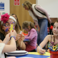 Children doing craft activities together at Arts Award pilot activity session