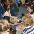 Staff member showing an object to a group of children