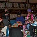 BK LUWO group doing craft work in the Pitt Rivers Museum