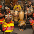 Performance of African dance group