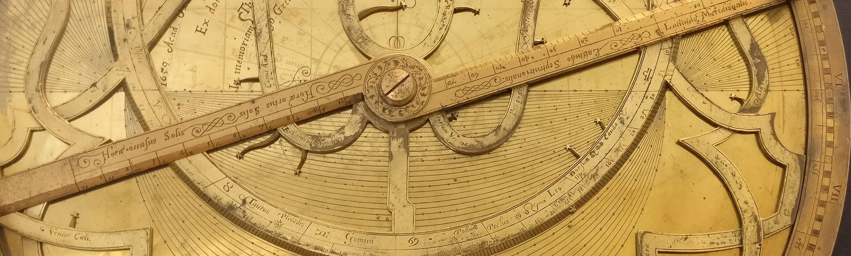 Close-up view of an astrolabe