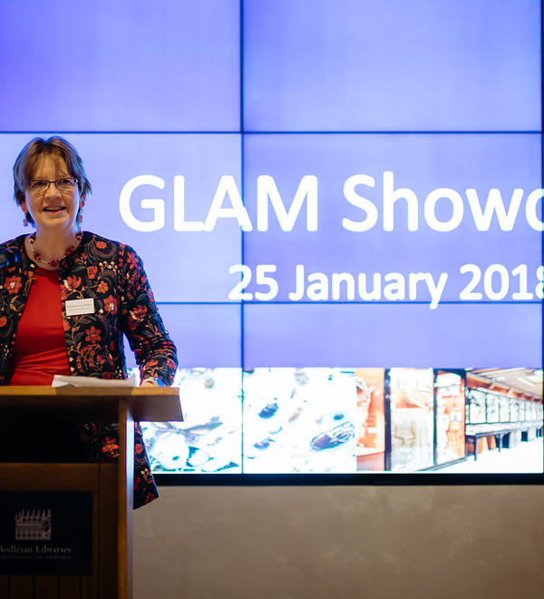 Professor Anne Trefethen presenting at GLAM Staff Event in January 2018 at the Weston Library