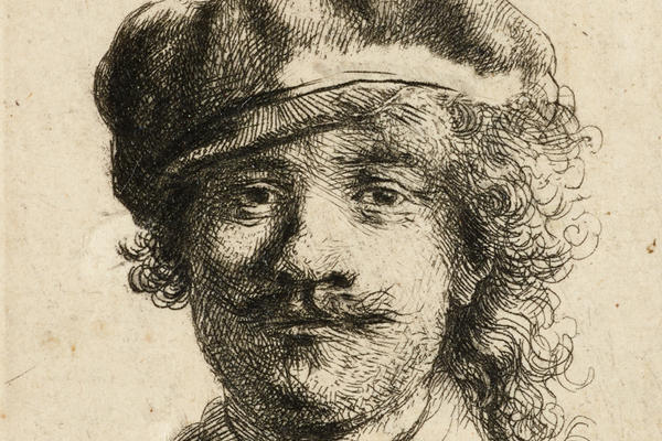 Rembrandt self-portrait wearing a soft cap