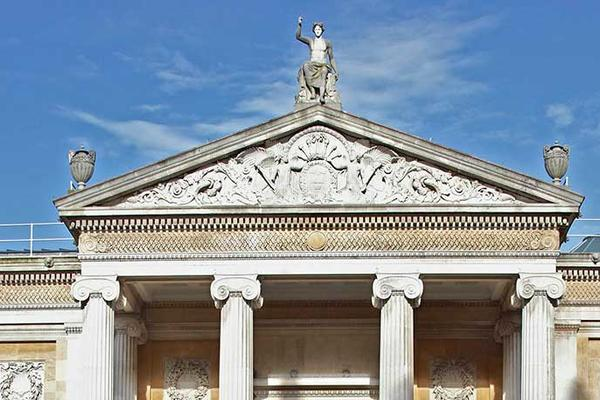Ashmolean facade against blue sky