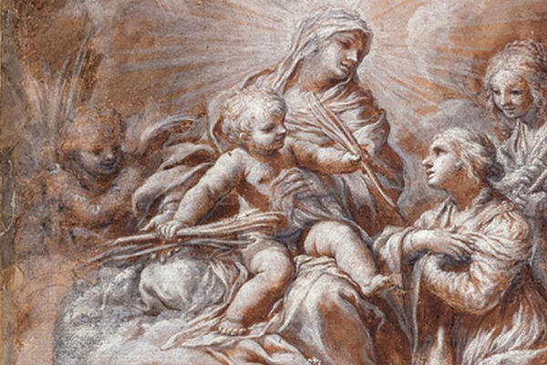 Detail from Ciro Ferri, The Virgin and Child adored, brush drawing in brown ink, heightened with body colour, over black chalk on buff paper