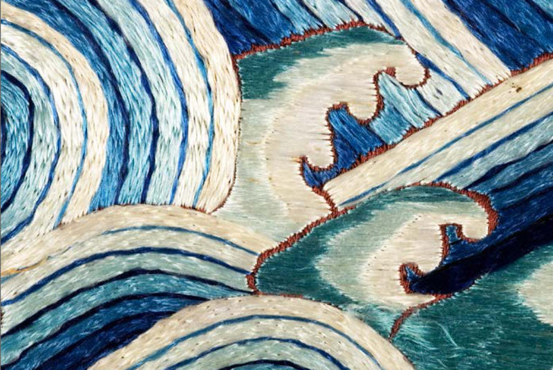 Detail of blue and white textile
