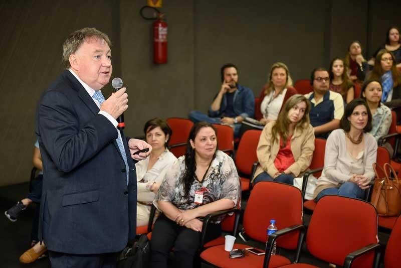 Professor Paul Smith, Director, Oxford University Museum of Natural History presenting at Connecting Museums conference at PUCRS, Porto Alegre, Brazil