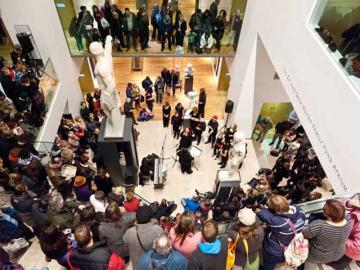 Busy Atrium in the Ashmolean Museum during a late night event