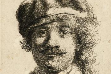 Rembrandt self-portrait wearing a soft cap