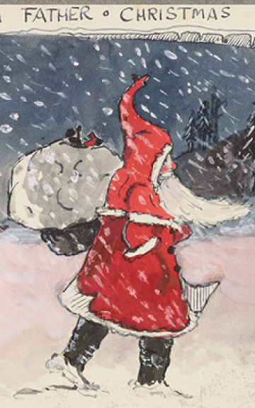 A colour drawing by Tolkien of Father Christmas