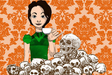 An illustration of a girl holding up a cup of tea behind a pile of skulls with an orange pattern background