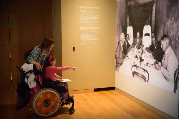 Wheelchair user visiting exhibition at the Ashmolean Museum