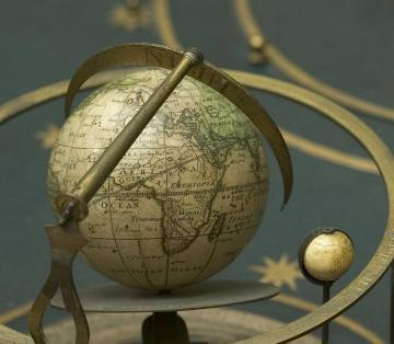 Close up of terrestrial globe, part of 18th Century Orrery by Thomas Wright (London), Museum of the History of Science