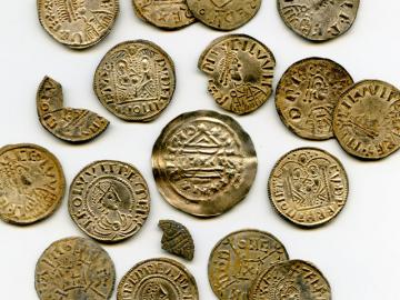 Selection of coins showing the different coin types within the Watlington Hoard