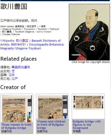 An example of a Wikidata profile page for artist Toyokuni, rendered in Japanese language