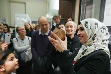volunteer waed alawad describes the workings of an astrolabe at the history of science museum (c) ian wallman