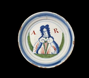 Delftware plate of Queen Anne