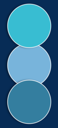 Three blue circles in vertical alignment