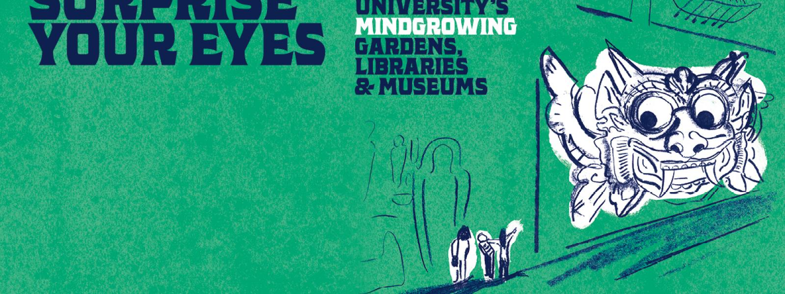 GLAM Mindgrowing banner featuring objects from Pitt Rivers Museum
